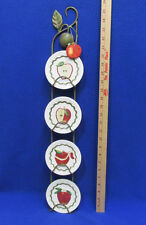 Mini Apple Plates & Vertical Metal Hanging Rack 4 Plates Red Green & Ornament