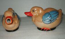 Vintage Porcelain Ducks Sugar & Creamer Lusterware Set Shofu Japan Mid Century