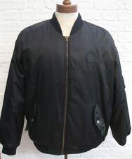 Vintage NAF NAF Men's Black Nylon Padded Retro Bomber Jacket * Size XL *