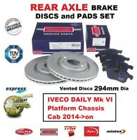 FOR IVECO DAILY Mk VI Platform Chassis Cab 2014->on REAR BRAKE PADS + DISCS SET