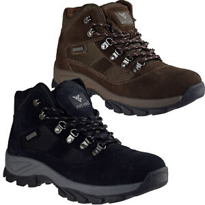 Mens Leather Walking Hiking Waterproof Ankle Boots Trainers Trekking Shoes Size