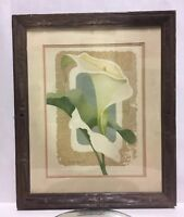 Vintage Harry Wysocki Floral Signed Art Print Embossed and Matted