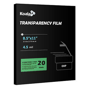Koala Clear Transparency OHP Film 20 Sheets Overhead Laser Inkjet Copier 8.5x11
