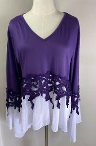 Cellibie Top Purple & White - XL - Aus 16-18 - BNWT