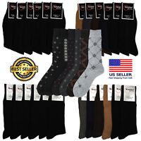 Mens 6 or 12 Pairs Quality Cotton Mid Calf Fashion Dress Design Socks 9-11 10-13