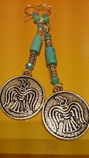 Native American thunderbird earrings BLESSED blue turquoise