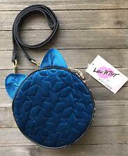 Luv BETSEY JOHNSON Kitty Cat Crossbody Blue Velvet Quilted Canteen Ava Handbag