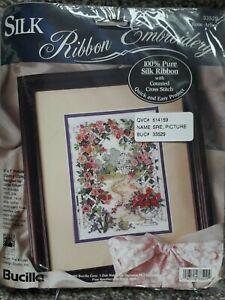 2 FULL KITS Counted Cross Stitch Silk Ribbon Embroidery Kit Bucilla