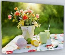 SUMMER FLOWER GARDEN CANVAS PICTURE PRINT WALL ART CHUNKY FRAME LARGE 352-2