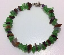 New Green Aventurine Tigers Eye Amethyst Gemstone Chip Bracelet Clasp Prosperity