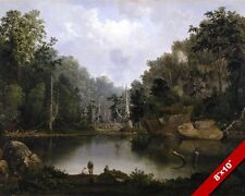 FISHING IN THE BLUE HOLE FLORIDA KEYS MIAMI RIVER PAINTING ART REAL CANVAS PRINT