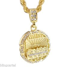 """Iced-Out Last Supper 3D Pendant Jesus Piece Gold Tone Necklace 24"""" Rope Chain"""