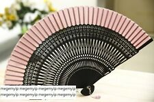 HIGH QUALITY Japanese Folding Clear Hand Engraved Flower Bamboo Pocket Fan Pink