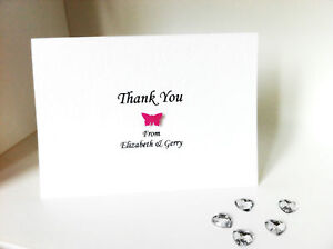 10 x Butterfly Wedding Thank You Cards (Personalised & Handmade)