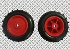"""2 x 100mm (4"""") Red Plastic Wheels With Plastic Tyres"""