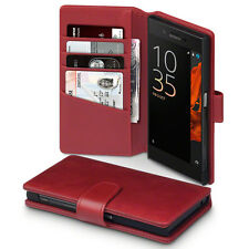 Real Genuine Italian Leather Wallet Book Case Red For Sony Xperia XZ Premium