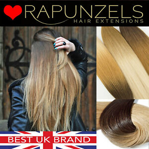 """Rapunzels UK Clip in ombre hair extensions wefted hair weave remy human 18"""" 20"""""""