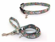 Vintage Flower Print, Roses,Dog Collar and Lead Set, Fully Adjustable