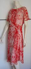 Dress MAX MARA Elegante-Floral Coral Silk Gerorgette- Size 42 I -Abito pura Seta