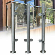 High Glass Balustrade Railing Post Glazing Stainless Steel Pole Handrail Silver
