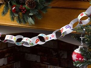 CHRISTMAS COLOUR-IN PAPER CHAIN KIT - makes 3 metres