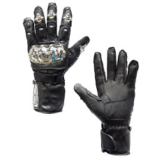 Men Motorcycle Leather Metal Knuckle Gloves Rider Biker Riding Racing Black