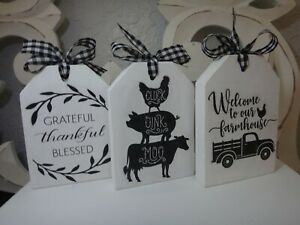 Farmhouse Style Decor Tag style Signs, Tiered Tray Wood Block Sign Set of 3