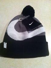 NWT Nike Beanie Winter Pom Hat Youth Boy's Black Gray White Swoosh Size 8-20