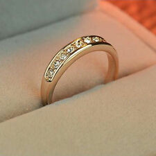 Women's Ladies Fashion Gold Plated Charm Crystal Engagement Elegant Jewelry Ring