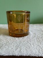 Heavy Glass Votive Candle Holder With Etched Glass Design
