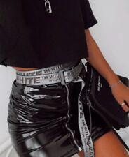 High Shine Leather Look Vinyl Zip Mini Skirt Size 10