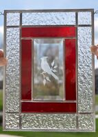 "MOTHER's DAY Cardinal Etched Bevel Stained Glass Panel Window 11 3/4"" x 8 3/4"""