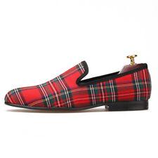 Merlutti Handmade Scottish Red Smoking Slippers Tartan Men Loafer