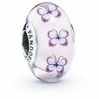 Authentic Pandora 925 Butterfly Pink Murano Glass Charm Pendant 797893