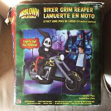 Gemmy RARE BIKER GRIM REAPER Airblown Inflatable Halloween Yard Decoration 8'