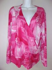 VENEZIA Jeans Clothing Co*Drape V-Neck Long Sleeve Knit Top*Size 22/24*Pink EUC