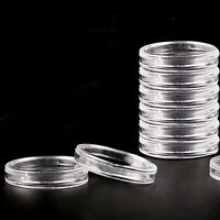 10Pcs 19mm Clear Round Cases Coin Storage Capsules Holder Round Plastic JF