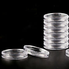 10 pcs 19 mm Clear Round Cases Coin Storage Capsules Holder Round Plastic LACA