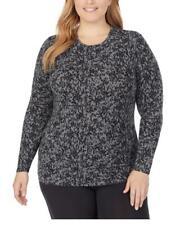 CUDDL DUDS Women's Softwear Long Sleeve Stretch Crewneck Top Plus Size 1X Black