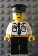 LEGO Female Girl Airline Pilot White Top with Wings & ID Badge Black Hat & Legs
