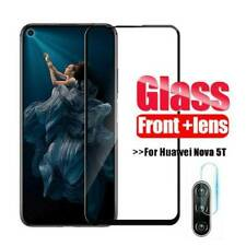 For Huawei Nova 5T Screen Protector Camera Lens 2 in 1 Protective Tempered Glass