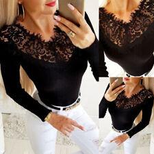 Sexy Spitze Damen V-Neck Shirt Bluse Freizeit Langarm T-Shirt Hemd Oberteile Top
