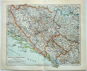 Bosnia & Montenegro - Original 1904 Map by Meyers. Antique