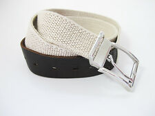 M.E.N.S Fabric and Leather Mens Stretch Belt Beige and Brown