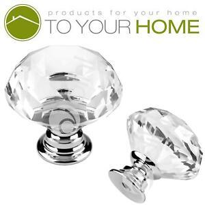 Dihl Large Crystal Door Knobs Diamond Glass Clear Cabinet Drawer Wardrobe Handle