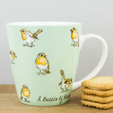 New Churchill China In Crowd A Bobbin of Robin Birds Green Fine Bone China Mug