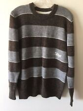 Billabong Sweater Wool Blend Crew Neck Striped Brown Gray Men's Size Small