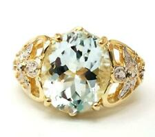 BESTJEWELLERY 14KT SOLID YELLOW GOLD NATURAL AQUAMARINE & DIAMOND RING SIZE7.5