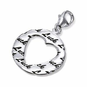 Silvadore LUCK Heart Round Plaque 925 Sterling Silver Clip On Charm Bracelet 211