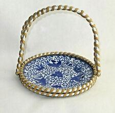 Japonaise assiette plateaup c.1940-50 porcelaine fine bleu blanc Phœnix Maruku
